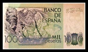 Billete de mil pesetas con los Roques de García