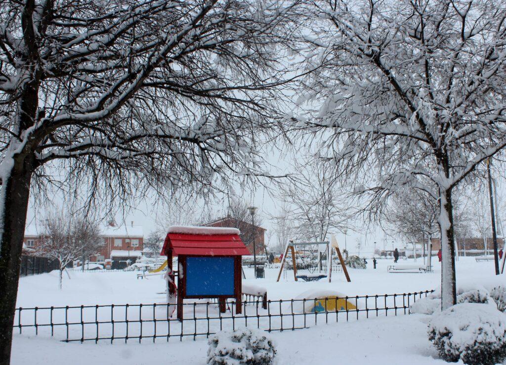 Parque con nieve. Temporal Filomena