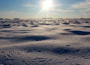 Campo de cultivo con nieve