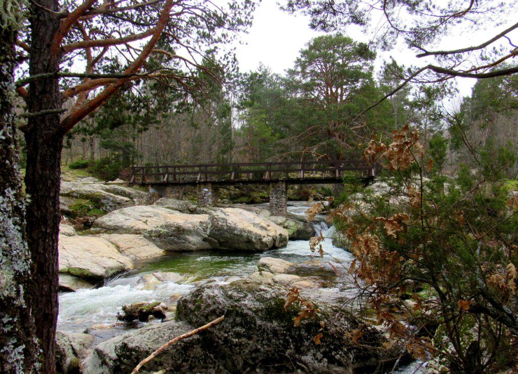 Río Lozoya puente de madera